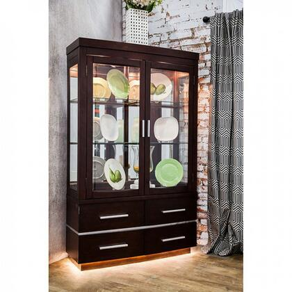 Furniture of America Lawrence CM3130HB Curio Cabinet Brown, Main Image