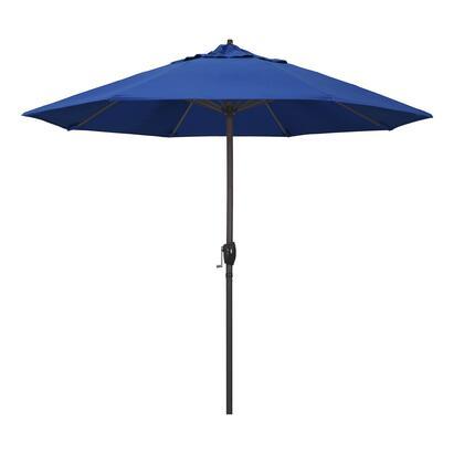 Casa Collection ATA908117-SA01 9′ Patio Umbrella With Bronze Aluminum Pole Aluminum Ribs Auto Tilt Crank Lift With Pacifica Pacific Blue
