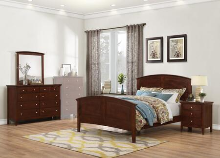Whistler Collection WH701QNMDR 4-Piece Bedroom Set with Queen Bed  Nightstand  Mirror and Dresser in Brown