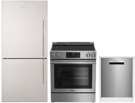"""3-Piece Kitchen Appliance Package with BRFB1812SSLN 30"""" Bottom Freezer Refrigerator BERU30420SS 30"""" Electric Range and DWT81800SSIH 18"""" Built In"""