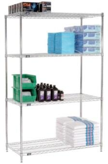 24486C Wire Shelving Starter Unit – 4 Tier 24x48x63  In