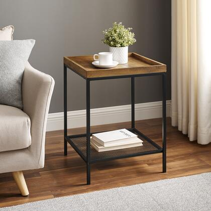 AF18EMISTRO 18    Square Tray Side Table with Mesh Metal Shelf – Rustic