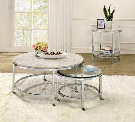 Shauna Collection CM4354CE2PC 2-Piece Living Room Table Sets with Coffee Table  and End Table in White