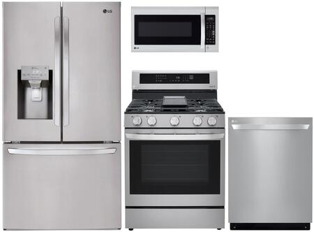 "4 Piece Kitchen Appliances Package with LFXS26973S 36"" Smart French Door Refrigerator LRGL5825F 30"" Gas Range LMV2031ST 30"" Over the Range"