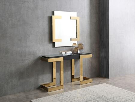 Sumo Collection CO1658BLKGLD 2 PC Console Set with 52″ Console and 35″ Square Shaped Mirror in Gold