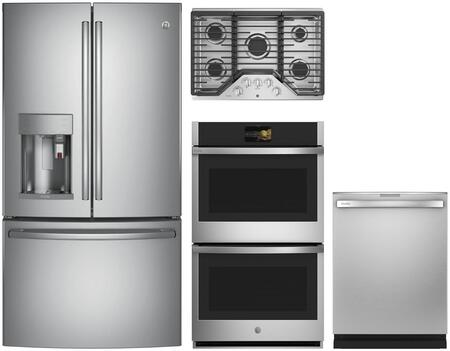 4 Piece Wi-Fi Connected Kitchen Appliances Package with PYE22PSKSS 36″ French Door Refrigerator  PTD7000SNSS 30″ Electric Double Wall Oven