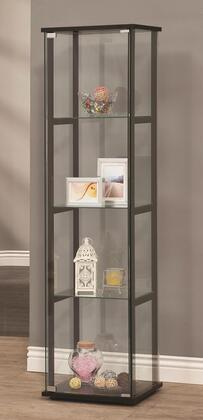 950171 Curio Cabinets Contemporary Curio Cabinet with 4 Tempered Glass Shelves  Metal Hardware and Solid Wooden Frame in Black