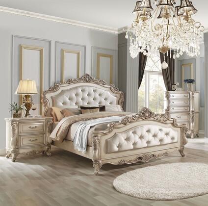 Acme Furniture Gorsedd 27437EK3SET Bedroom Set White, 3PC Bedroom Set