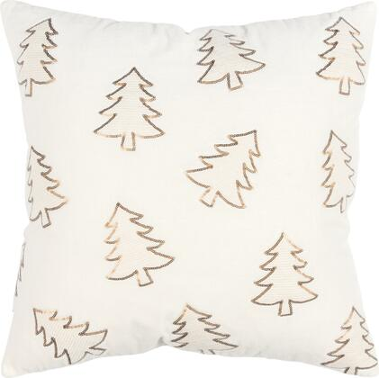 Rizzy Home Poly Filled Pillow PILT17320IV002020 Pillow White, T17320 holiday 20x20 front rizzyhome hi res