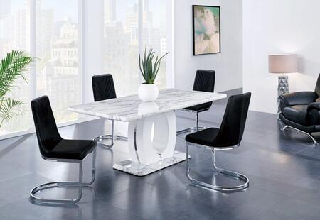 Global Furniture USA D894 D894DT4D1067DCBL Dining Room Set White, Main Image