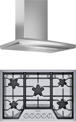 2 Piece Kitchen Appliances Package with SGSX305TS 30″ Gas Cooktop and HMCB30WS 30″ Wall Mount Convertible Hood in Stainless