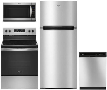 4 Piece Kitchen Appliances Package with WRT518SZFM 28″ Top Freezer Refrigerator  WFE505W0JZ 30″ Electric Range  WMH53521HZ 30″ Over the Range