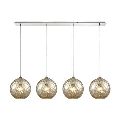 31380/4LP-MRC Watersphere 4 Light Linear Pan Fixture in Polished Chrome with Mercury Hammered