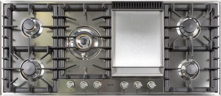 """Ilve  UHP125FCILP Gas Cooktop Stainless Steel, UHP125FCI 48"""" Cooktop"""