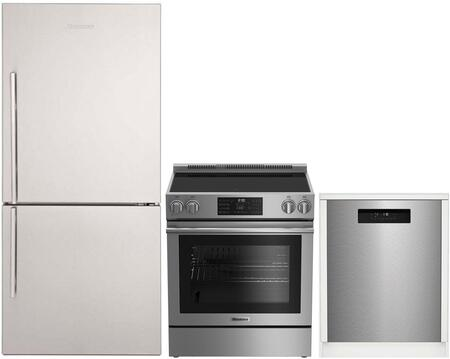 """3-Piece Kitchen Appliances Package with BRFB1822SSN 30"""" Bottom Freezer Refrigerator BERU30420SS 30"""" Electric Range and DWT52600SSIH 24"""" Built In"""