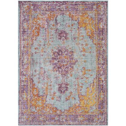 """Antioch AIC-2307 9′ x 12'10"""" Rectangle Traditional Rugs in Lavender  Dark Purple  Sea Foam  Bright Yellow  Saffron  White"""