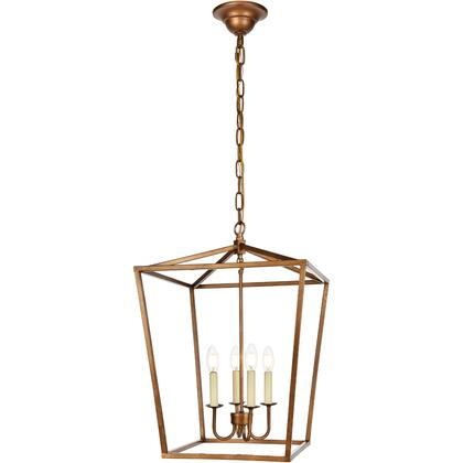 LD6008D17G Maddox 4 Light 17 inch Vintage Gold Pendant Ceiling