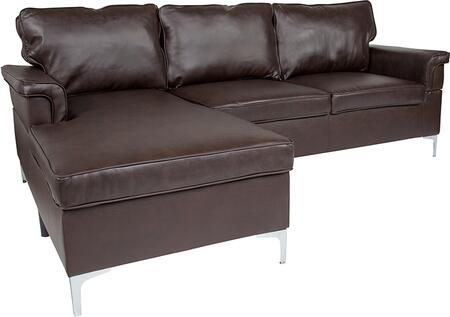BT-S8375-SFCHSE-BRN-GG Boylston Upholstered Plush Pillow Back Sectional with Left Side Facing Chaise in Brown