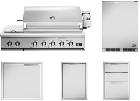 5 Piece Grill Package with 48″ Liquid Propane Grill  24″ Access Door  20″ Storage Drawer  20″ Trash Drawer and 24″ Compact Refrigerator in Stainless