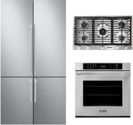 3 Piece Kitchen Appliances Package with DRF427500AP 42″ French Door Refrigerator  HWO127PS 27″ Electric Single Wall Steam Oven and HCT365GSNG 36″ Gas