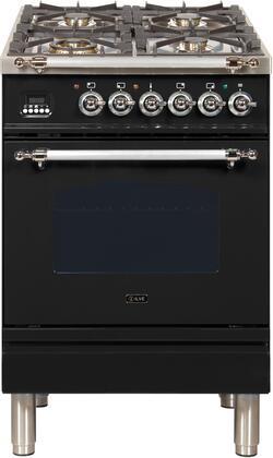 Ilve Nostalgie UPN60DMPNXLP Freestanding Dual Fuel Range Black, 1