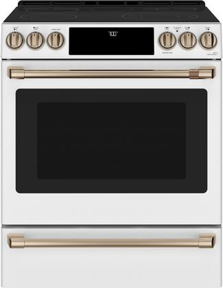 Cafe Matte Collection CES700P4MW2 Slide-In Electric Range White, CES700P4MW2 Smart Slide-In, Front-Control, Radiant and Convection Range