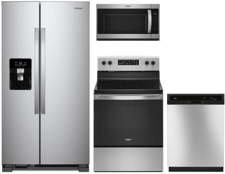 4 Piece Kitchen Appliances Package with WRS555SIHZ 36″ Side by Side Refrigerator  WFE505W0JZ 30″ Electric Range  WMH53521HZ 30″ Over the Range