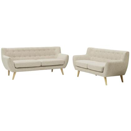 Remark Collection EEI-1785-BEI-SET 2 PC Living Room Set with Natural Rubberwood Tapered Legs  Flared Arms  Non-Marking Foot Caps and Polyester Fabric