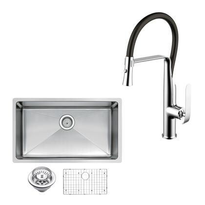 CF511-US-3018B 30″ X 18″ Single Bowl Stainless Steel Hand Made Undermount Kitchen Sink With Coved Corners  Drain  Strainer  Bottom Grid  And Single