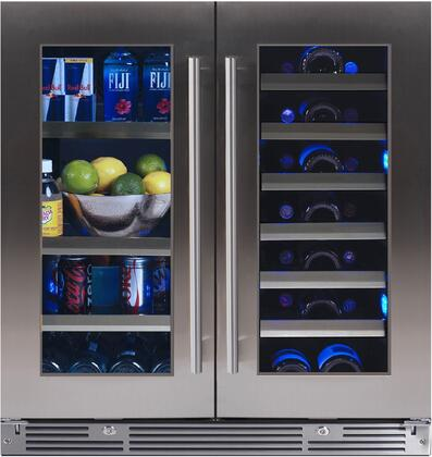 XOU30BWDDGS 30″ French Door Wine and Beverage Center with Two Independent Zones  Low-E Glass Doors  Tri Color LED Lighting and Locks in Stainless