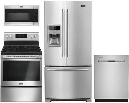 4 Piece Kitchen Appliances Package with MFI2269FRZ 33″ French Door Refrigerator  MER6600FZ 30″ Electric Range  MDB8959SKZ 24″ Built In Fully