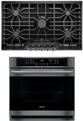 """2 Piece Kitchen Appliances Package with FGEW3066UD 30"""" Electric Single Wall Oven and FFGC3626SB 36"""" Gas Cooktop in Black Stainless"""