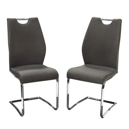 """London_LONDONDCGR2PK_Set_of_(2)_40""""_Dining_Chairs_with_Grey_Fabric_Upholstery__Chromed-Steel_Frame_and_Designer"""