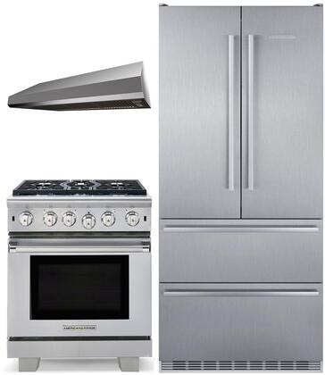 """3 Piece Kitchen Appliances Package with CS2082 36"""" French Door Refrigerator ARR530N 30"""" Gas Range and MAES3010SS600B 30"""" Under Cabinet Convertible"""