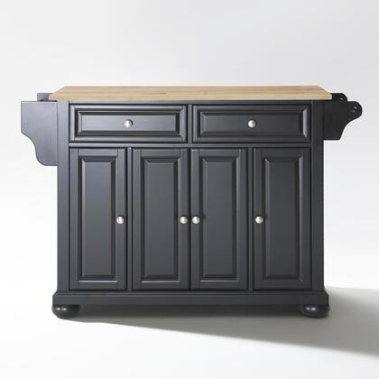 Alexandria Collection KF30001ABK Wood Top Island/Cart in Black