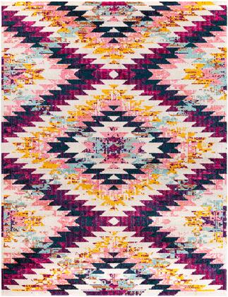 "Anika ANI-1028 7'10"" x 10'2″ Rectangle Rustic Rugs in White  Beige  Bright Pink  Bright Red  Aqua  Teal  Dark Blue  Saffron"