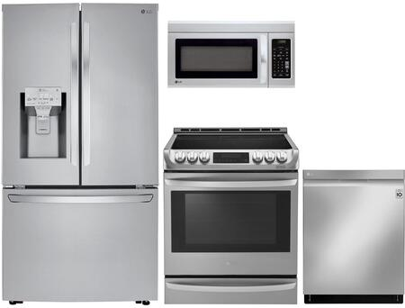 4 Piece Kitchen Appliances Package with LRFXC2406S 36″ French Door Refrigerator  LSE4613ST 30″ Slide-in Electric Range  LMV1831ST 30″ Over the Range
