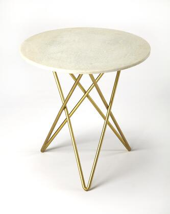 Quantum Collection 3775389 Bunching Table with Modern Style  Round Shape  Medium Density Fiberboard (MDF) and Iron Metal Material in Marble and Metal