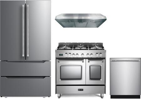 4 Piece Kitchen Appliances Package with VERF36CDSS 36″ French Door Refrigerator  VPFSGE365DSS 36″ Dual Fuel Range  VEHOOD3610 36″ Under Cabinet Range