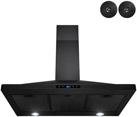 RH0460 36″ Convertible Wall Mount Range Hood with 210 CFM  LED Lighting  Mesh Filters  Carbon Filters and Touch Controls in