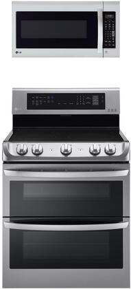 """2 Piece Kitchen Appliances Package with LDE4413ST 30"""" Electric Range and LMV2031ST 30"""" Over the Range Microwave in Stainless"""