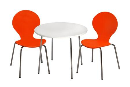 3012O Modern Children's Table and 2 Chair Set with Chrome Legs (Orange Color