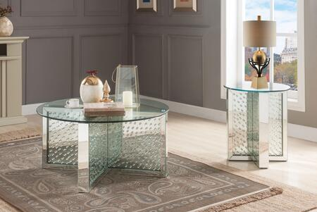 Acme Furniture Nysa 80215SET Living Room Table Set Silver, Coffee and End Table Set