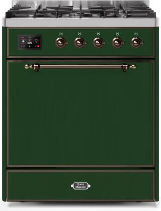 Ilve Majestic II UM30DQNE3EGBLP Freestanding Dual Fuel Range Green, UM30DQNE3EGBLP-Front-CD-A