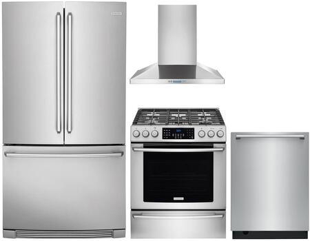 4 Piece Kitchen Appliances Package with EI23BC82SS 36″  French Door Refrigerator  EI30GF45QS 30″ Gas Range  RH30WC55GS 30″ Wall Mount Convertible