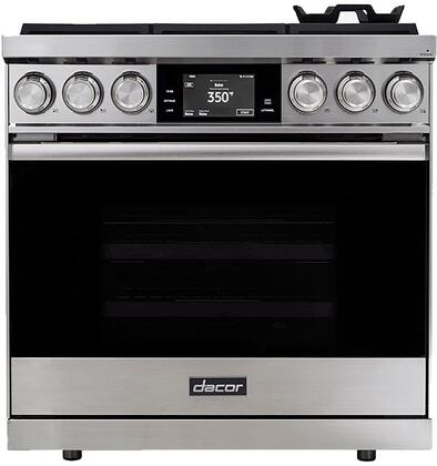 Dacor Contemporary DOP36M86DLS Freestanding Dual Fuel Range Stainless Steel, Front View