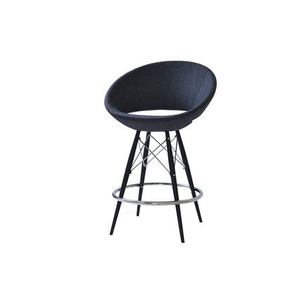 Delancey 150-MCD-MW-BLW Tower Counter Stool in Charcoal