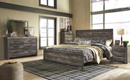 B440KLBCHDMN 5-Piece Bedroom Set with Queen Size Low Profile Bed + Chest Drawer + Dresser + Mirror + Nightstand  in