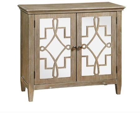 Lucy Collection 100632 34″ Accent Chest with 2 Fretwork Designed Mirrored Doors  1 Adjustable Shelf  Tapered Legs and Distressed Wood Construction in