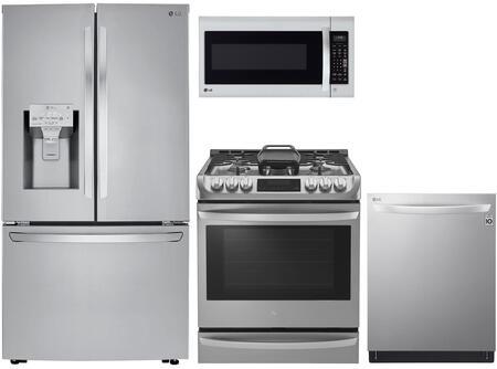 4 Piece Kitchen Appliances Package with LRFXC2406S 36″ French Door Refrigerator  LSG4513ST 30″ Slide-in Gas Range  LMV2031ST 30″ Over the Range